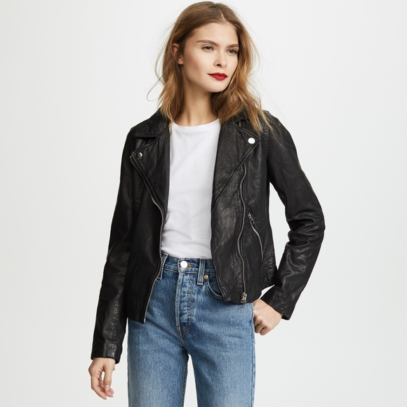 low price hot new products look out for Madewell Jackets & Coats | 498 Black Washed Leather Moto Jacket ...